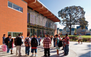Conerstone MGI Rosa Parks Elementary School Exterior with Students
